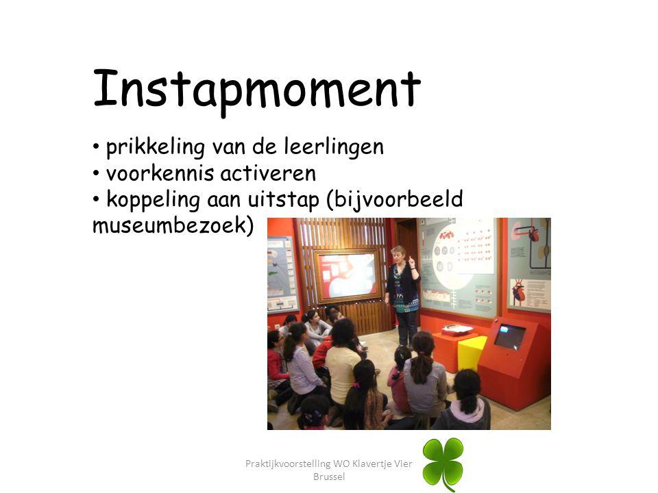 Instapmoment prikkeling van de leerlingen voorkennis activeren koppeling aan uitstap (bijvoorbeeld museumbezoek)