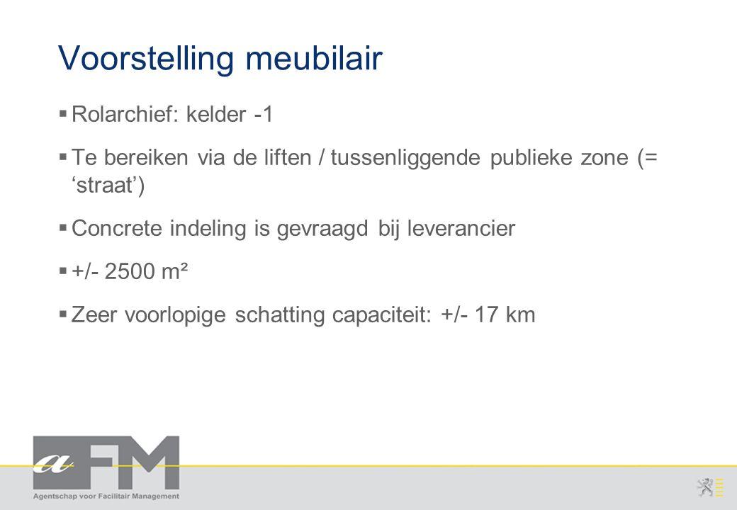 Page 10 AFM/gka/20071115/1 v2.0 Agentschap voor Overheidspersoneel Voorstelling meubilair  Rolarchief: kelder -1  Te bereiken via de liften / tussenliggende publieke zone (= 'straat')  Concrete indeling is gevraagd bij leverancier  +/- 2500 m²  Zeer voorlopige schatting capaciteit: +/- 17 km