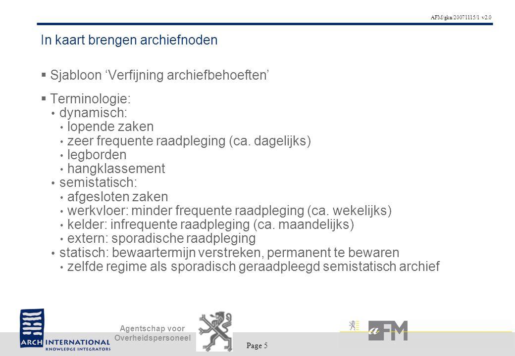 Page 5 AFM/gka/20071115/1 v2.0 Agentschap voor Overheidspersoneel In kaart brengen archiefnoden  Sjabloon 'Verfijning archiefbehoeften'  Terminologie: dynamisch: lopende zaken zeer frequente raadpleging (ca.