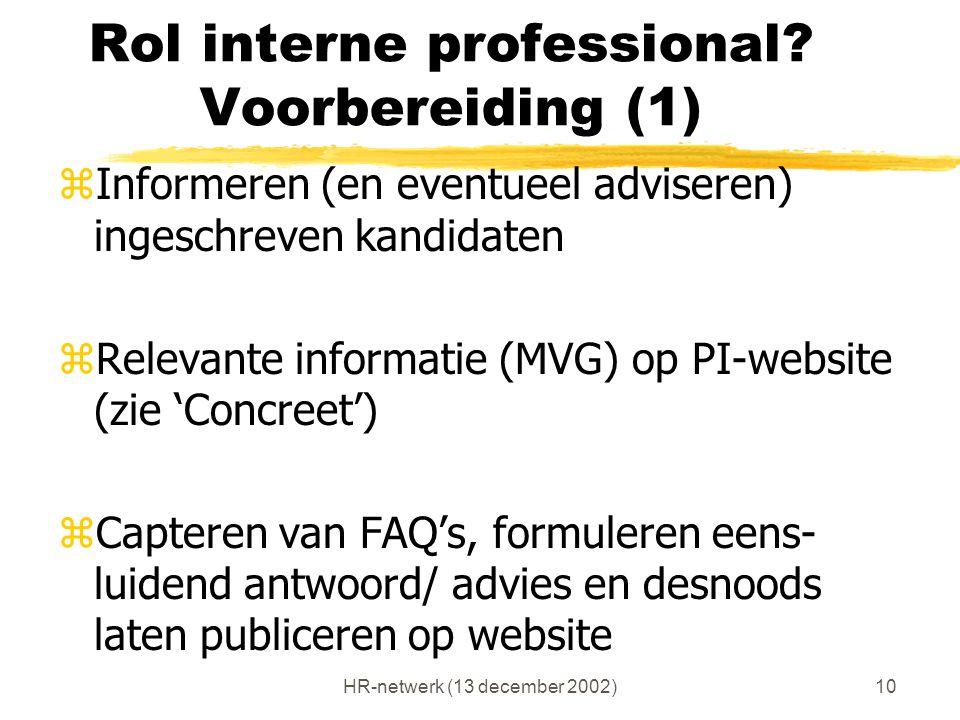 HR-netwerk (13 december 2002)10 Rol interne professional? Voorbereiding (1) zInformeren (en eventueel adviseren) ingeschreven kandidaten zRelevante in