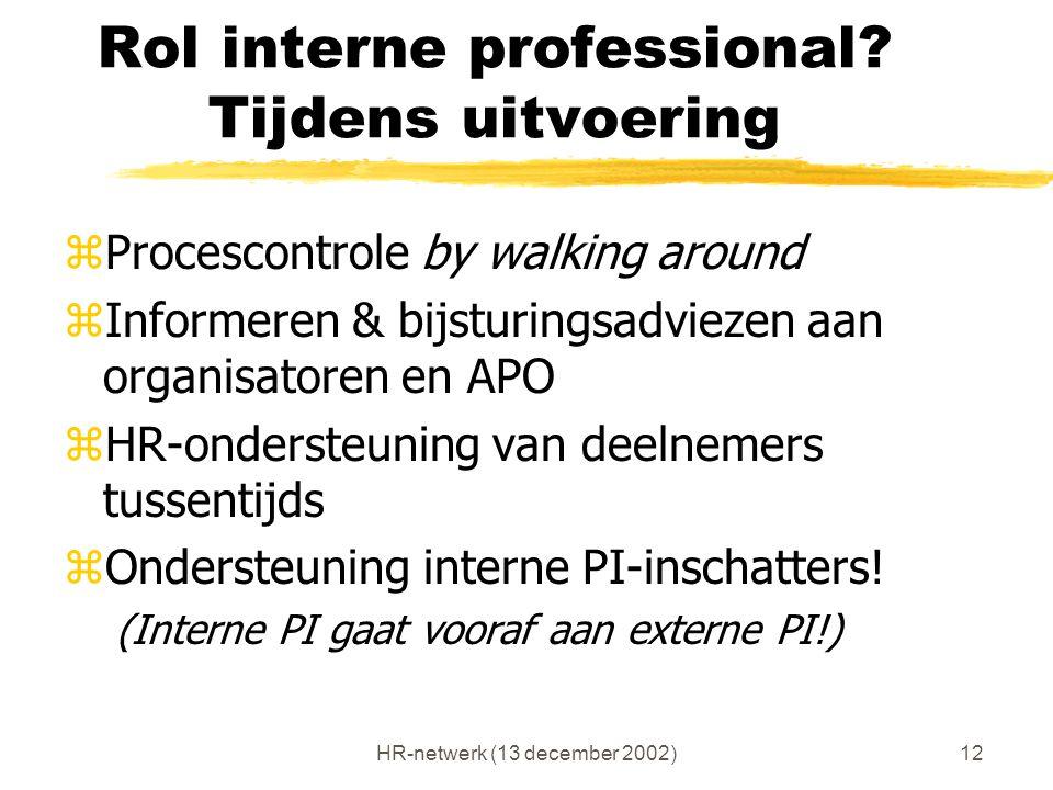 HR-netwerk (13 december 2002)12 Rol interne professional? Tijdens uitvoering zProcescontrole by walking around zInformeren & bijsturingsadviezen aan o