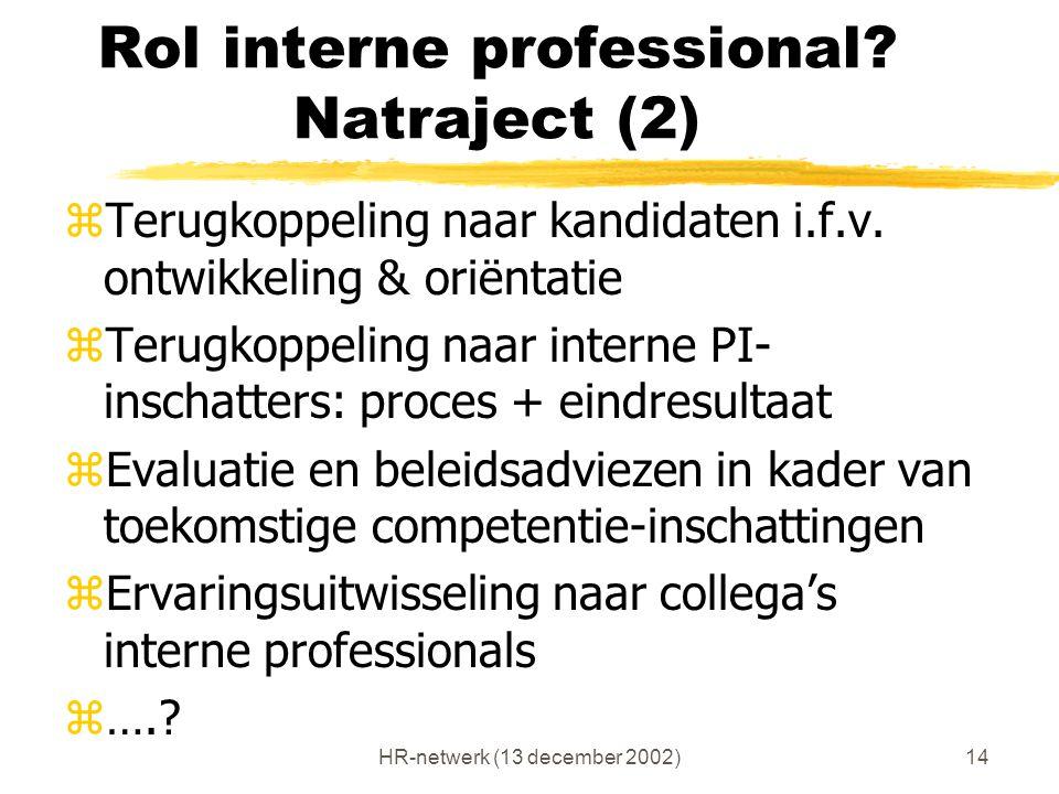 HR-netwerk (13 december 2002)14 Rol interne professional? Natraject (2) zTerugkoppeling naar kandidaten i.f.v. ontwikkeling & oriëntatie zTerugkoppeli