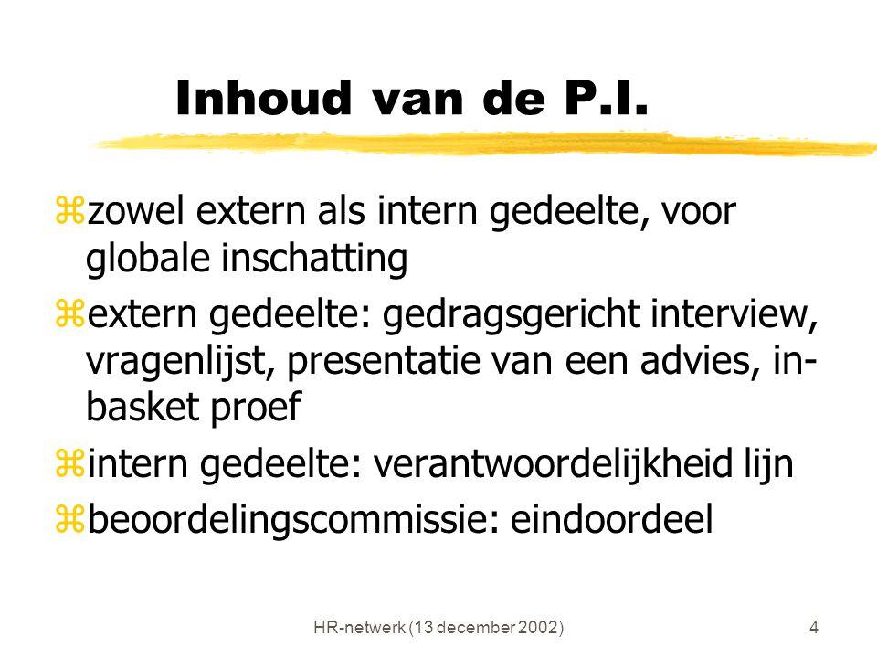 HR-netwerk (13 december 2002)4 Inhoud van de P.I. zzowel extern als intern gedeelte, voor globale inschatting zextern gedeelte: gedragsgericht intervi