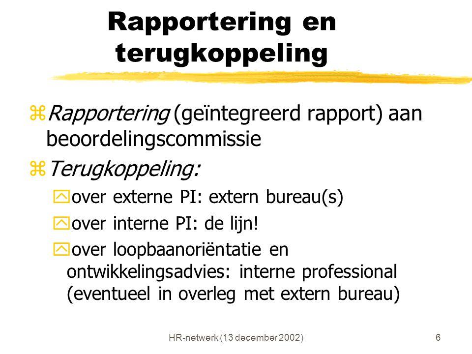 HR-netwerk (13 december 2002)6 Rapportering en terugkoppeling zRapportering (geïntegreerd rapport) aan beoordelingscommissie zTerugkoppeling: yover ex