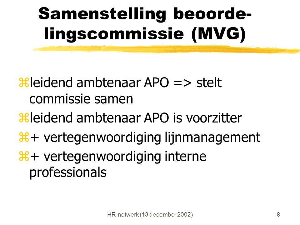 HR-netwerk (13 december 2002)8 Samenstelling beoorde- lingscommissie (MVG) zleidend ambtenaar APO => stelt commissie samen zleidend ambtenaar APO is v