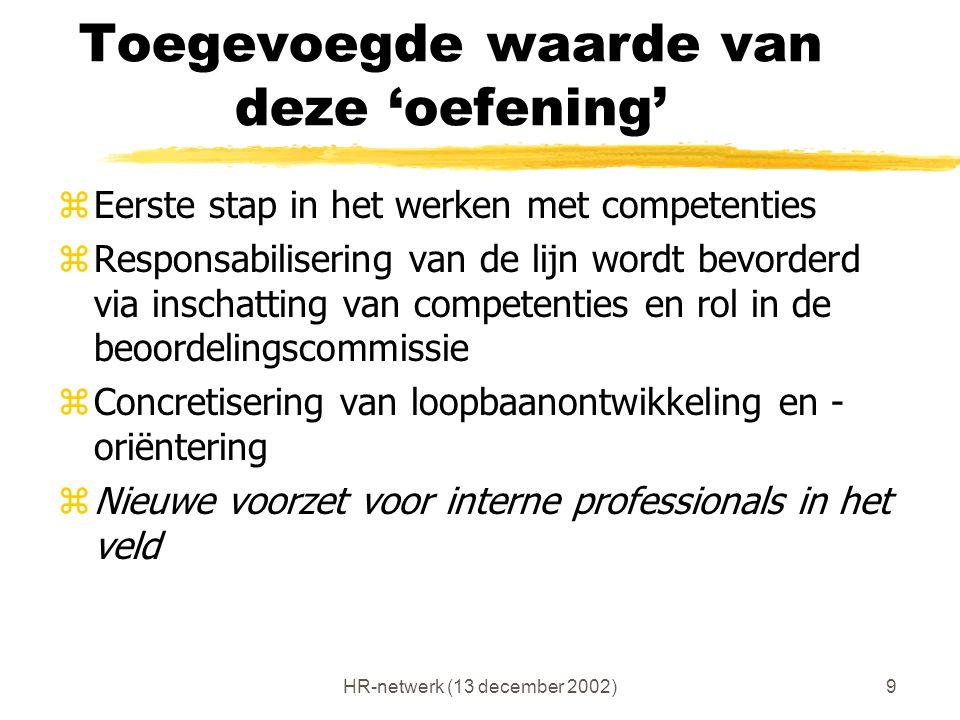 HR-netwerk (13 december 2002)9 Toegevoegde waarde van deze 'oefening' zEerste stap in het werken met competenties zResponsabilisering van de lijn word