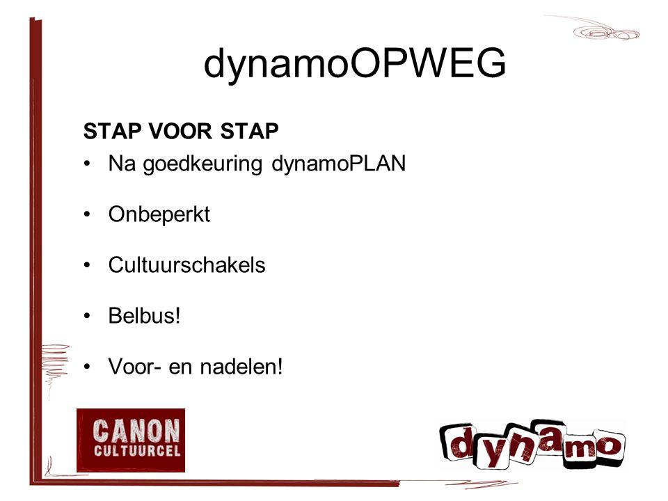 dynamoOPWEG STAP VOOR STAP Na goedkeuring dynamoPLAN Onbeperkt Cultuurschakels Belbus.