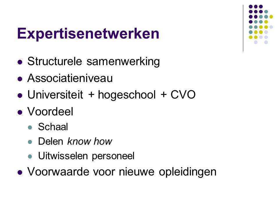 Expertisenetwerken Structurele samenwerking Associatieniveau Universiteit + hogeschool + CVO Voordeel Schaal Delen know how Uitwisselen personeel Voorwaarde voor nieuwe opleidingen