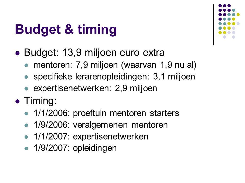 Budget & timing Budget: 13,9 miljoen euro extra mentoren: 7,9 miljoen (waarvan 1,9 nu al) specifieke lerarenopleidingen: 3,1 miljoen expertisenetwerken: 2,9 miljoen Timing: 1/1/2006: proeftuin mentoren starters 1/9/2006: veralgemenen mentoren 1/1/2007: expertisenetwerken 1/9/2007: opleidingen