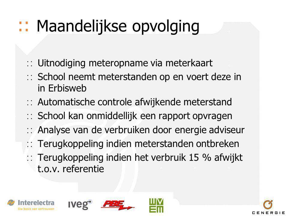 :: Maandelijkse opvolging ∷ Uitnodiging meteropname via meterkaart ∷ School neemt meterstanden op en voert deze in in Erbisweb ∷ Automatische controle