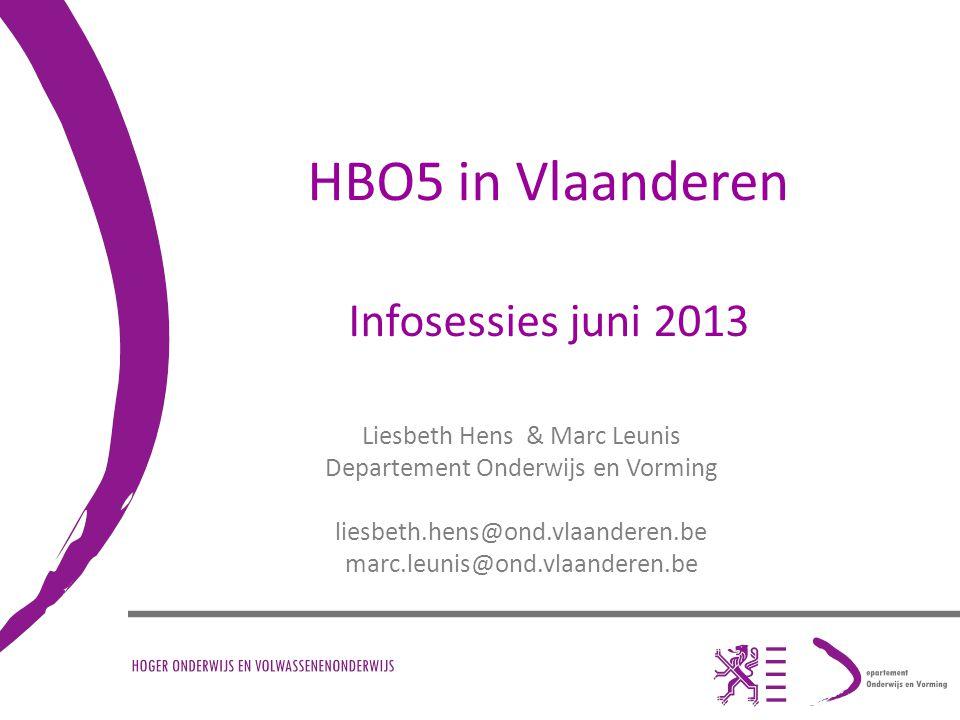 Inhoud Ontstaan van HBO5 in Vlaanderen HBO5 vandaag Het nieuwe decreet Personeel Ruimte voor vragen