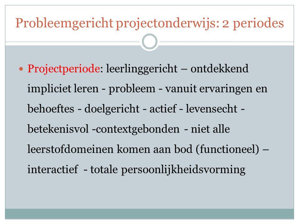 Probleemgericht projectonderwijs: 2 periodes Projectperiode: leerlinggericht – ontdekkend impliciet leren - probleem - vanuit ervaringen en behoeftes - doelgericht - actief - levensecht - betekenisvol -contextgebonden - niet alle leerstofdomeinen komen aan bod (functioneel) – interactief - totale persoonlijkheidsvorming