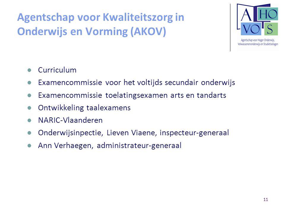 11 Agentschap voor Kwaliteitszorg in Onderwijs en Vorming (AKOV) Curriculum Examencommissie voor het voltijds secundair onderwijs Examencommissie toel