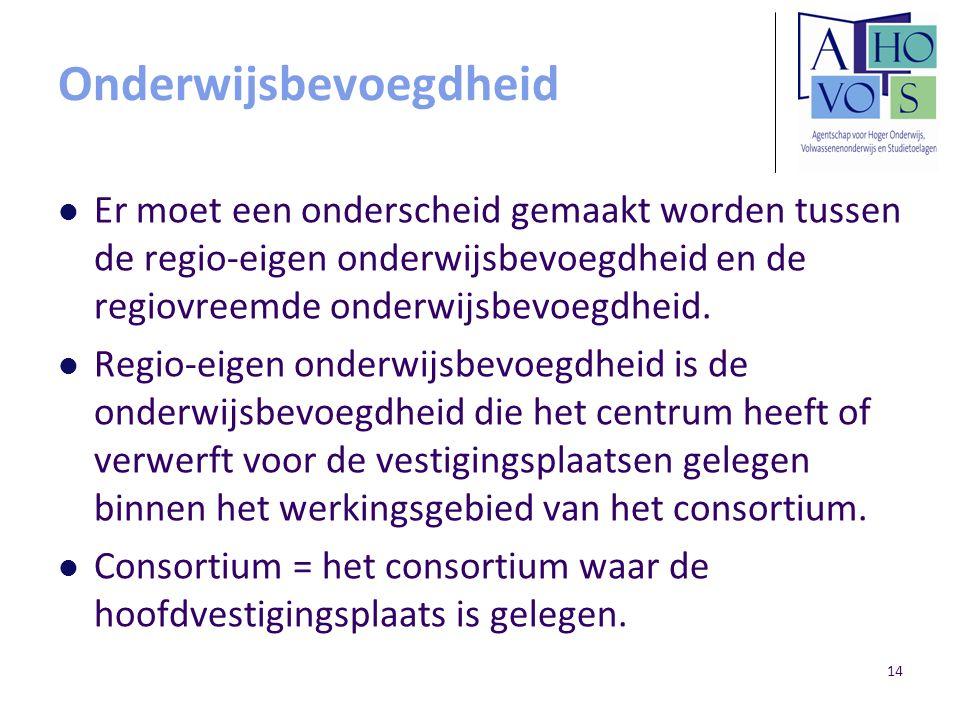 14 Onderwijsbevoegdheid Er moet een onderscheid gemaakt worden tussen de regio-eigen onderwijsbevoegdheid en de regiovreemde onderwijsbevoegdheid. Reg