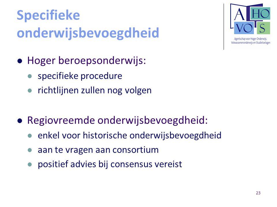 23 Specifieke onderwijsbevoegdheid Hoger beroepsonderwijs: specifieke procedure richtlijnen zullen nog volgen Regiovreemde onderwijsbevoegdheid: enkel