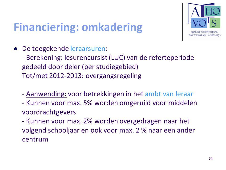 34 Financiering: omkadering De toegekende leraarsuren: - Berekening: lesurencursist (LUC) van de referteperiode gedeeld door deler (per studiegebied)