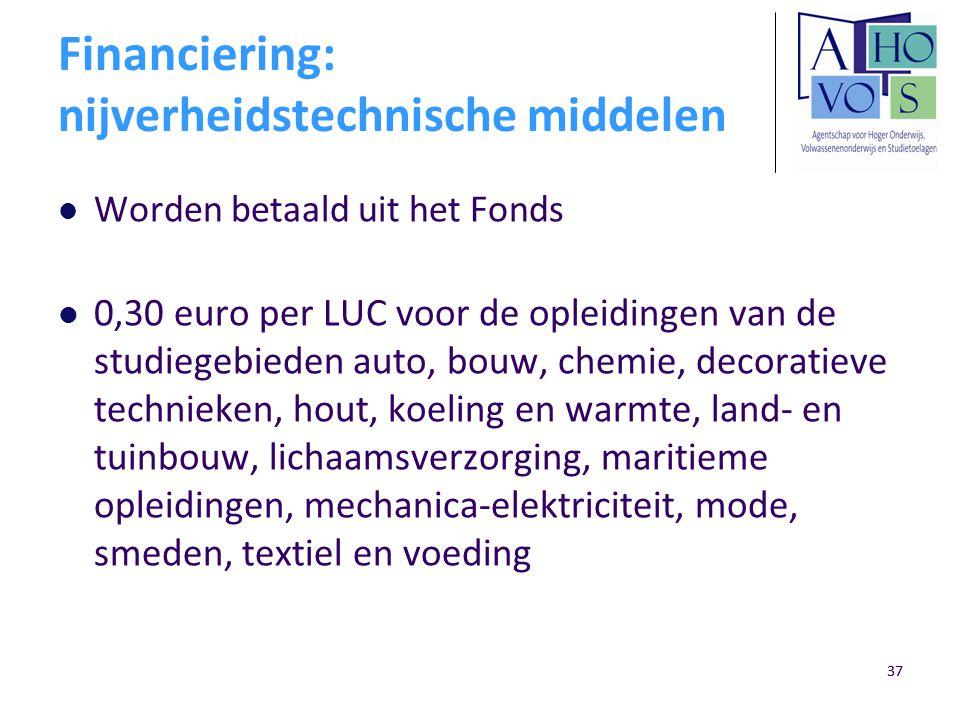 37 Financiering: nijverheidstechnische middelen Worden betaald uit het Fonds 0,30 euro per LUC voor de opleidingen van de studiegebieden auto, bouw, c