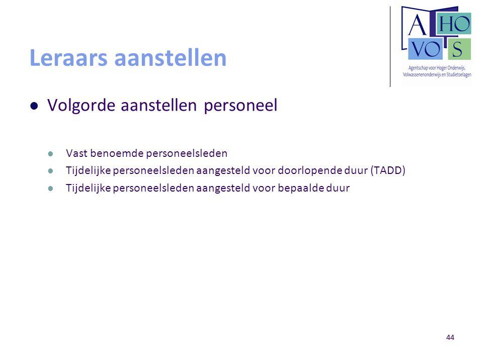 44 Leraars aanstellen Volgorde aanstellen personeel Vast benoemde personeelsleden Tijdelijke personeelsleden aangesteld voor doorlopende duur (TADD) T
