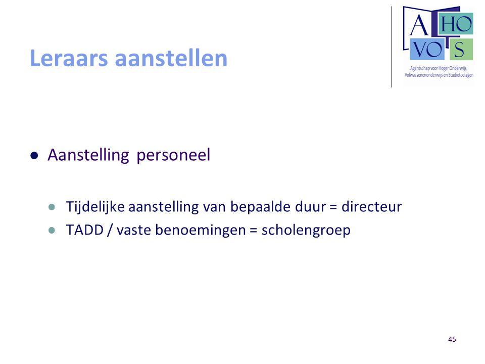 45 Leraars aanstellen Aanstelling personeel Tijdelijke aanstelling van bepaalde duur = directeur TADD / vaste benoemingen = scholengroep