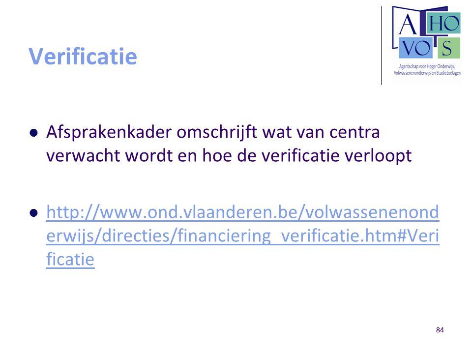 84 Verificatie Afsprakenkader omschrijft wat van centra verwacht wordt en hoe de verificatie verloopt http://www.ond.vlaanderen.be/volwassenenond erwi