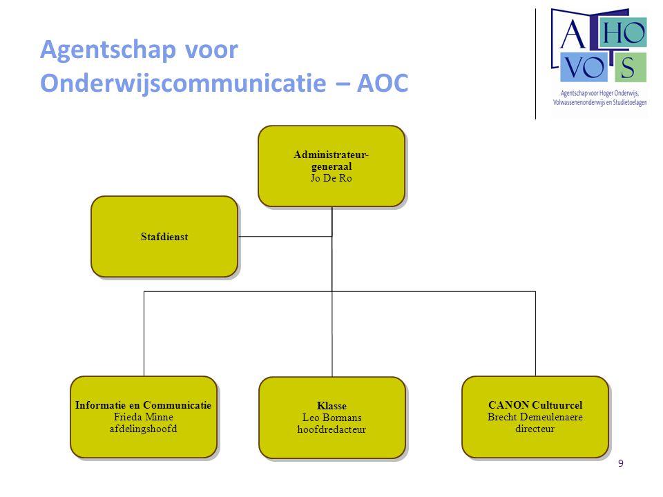 9 Agentschap voor Onderwijscommunicatie – AOC Administrateur- generaal Jo De Ro Administrateur- generaal Jo De Ro Stafdienst Informatie en Communicati