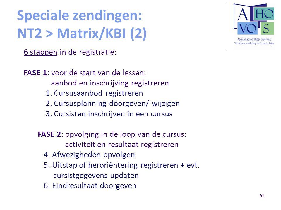 91 Speciale zendingen: NT2 > Matrix/KBI (2) 6 stappen in de registratie: FASE 1: voor de start van de lessen: aanbod en inschrijving registreren 1. Cu