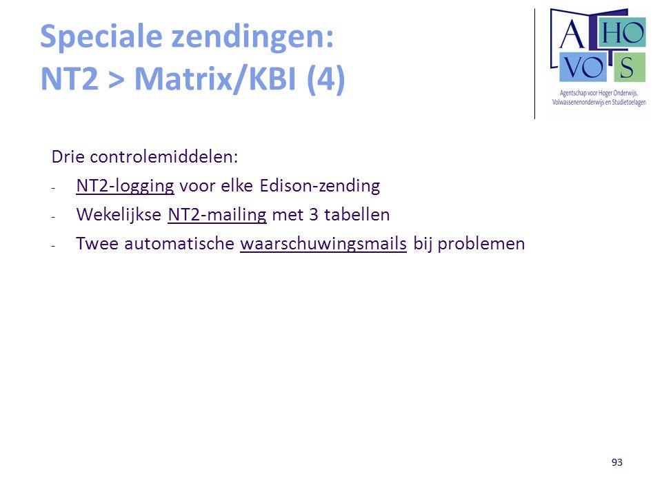 93 Speciale zendingen: NT2 > Matrix/KBI (4) Drie controlemiddelen: - NT2-logging voor elke Edison-zending - Wekelijkse NT2-mailing met 3 tabellen - Tw