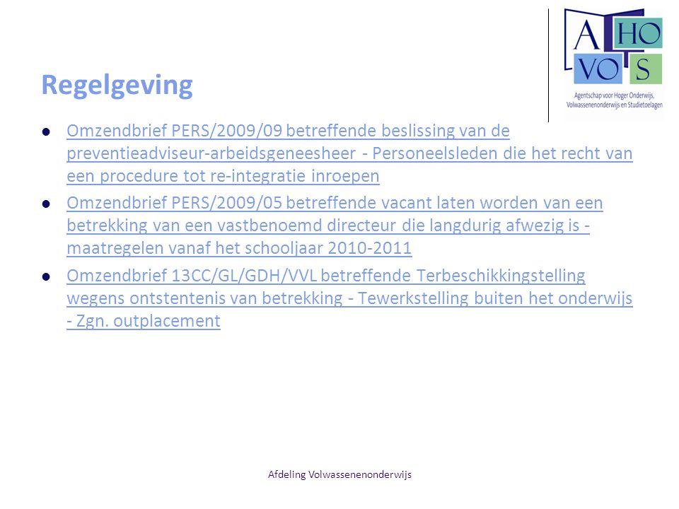 Afdeling Volwassenenonderwijs Regelgeving Omzendbrief PERS/2009/09 betreffende beslissing van de preventieadviseur-arbeidsgeneesheer - Personeelsleden