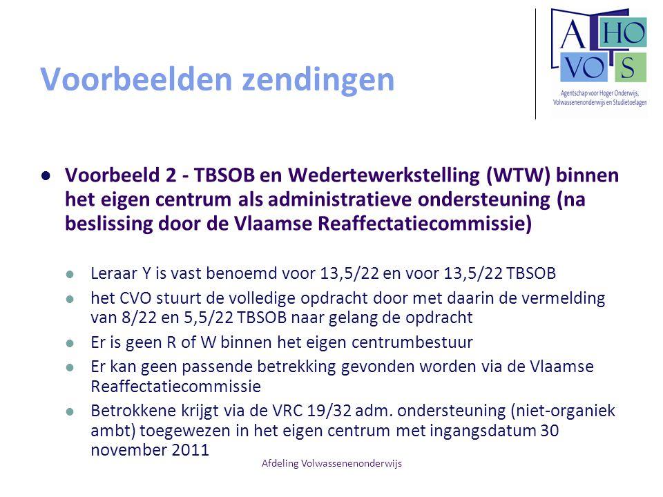 Voorbeelden zendingen Voorbeeld 2 - TBSOB en Wedertewerkstelling (WTW) binnen het eigen centrum als administratieve ondersteuning (na beslissing door