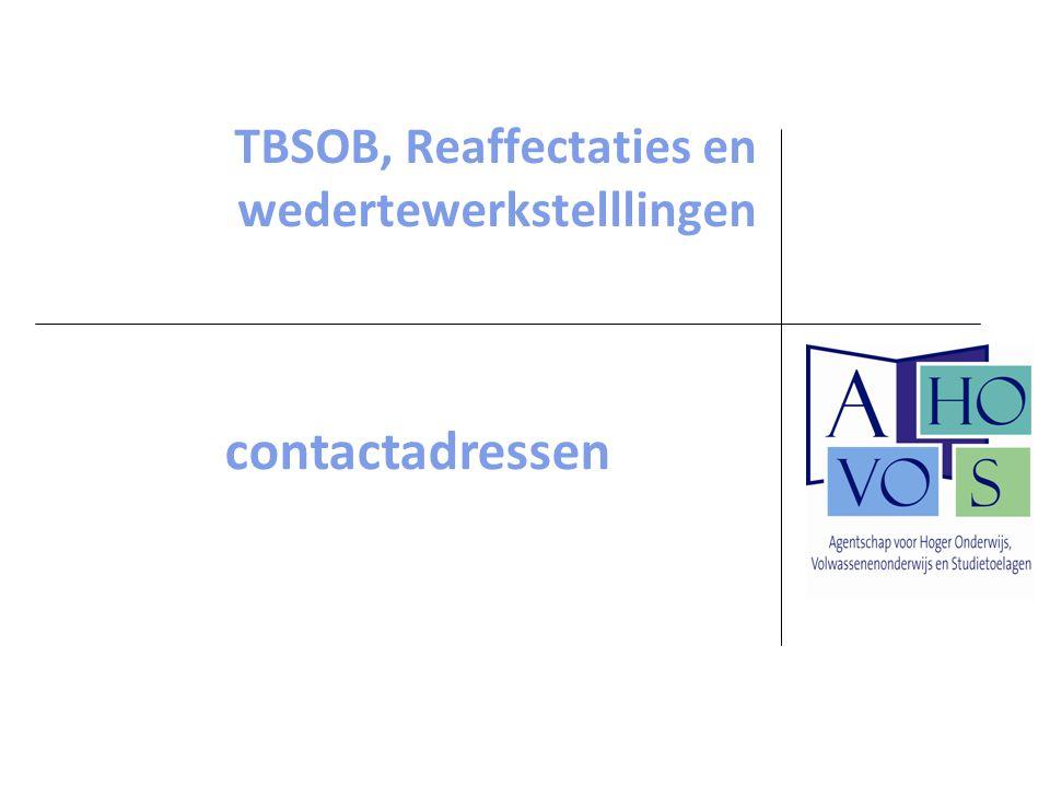 TBSOB, Reaffectaties en wedertewerkstelllingen contactadressen