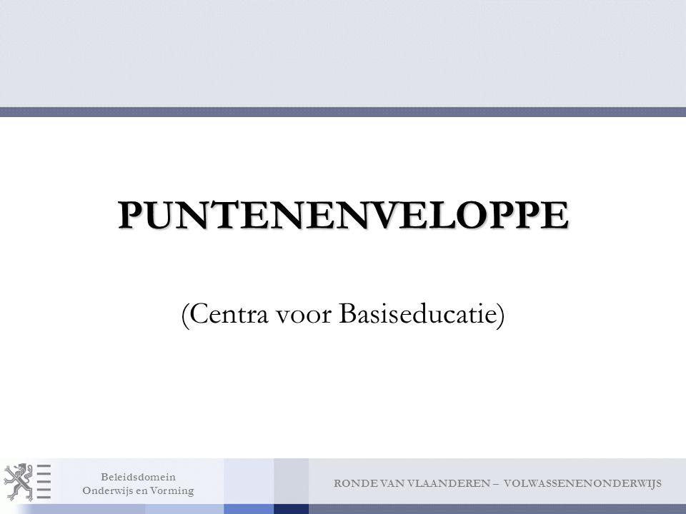 RONDE VAN VLAANDEREN – VOLWASSENENONDERWIJS Beleidsdomein Onderwijs en Vorming PUNTENENVELOPPE (Centra voor Basiseducatie)