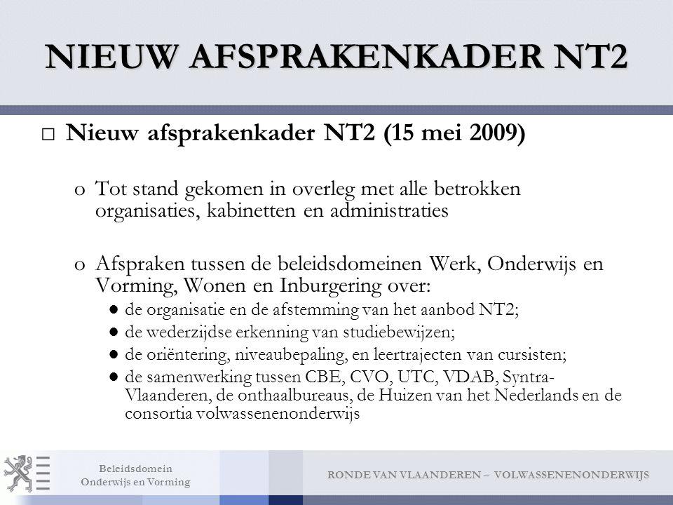 RONDE VAN VLAANDEREN – VOLWASSENENONDERWIJS Beleidsdomein Onderwijs en Vorming NIEUW AFSPRAKENKADER NT2 □Nieuw afsprakenkader NT2 (15 mei 2009) oTot s
