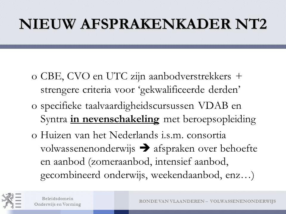 RONDE VAN VLAANDEREN – VOLWASSENENONDERWIJS Beleidsdomein Onderwijs en Vorming NIEUW AFSPRAKENKADER NT2 oCBE, CVO en UTC zijn aanbodverstrekkers + strengere criteria voor 'gekwalificeerde derden' ospecifieke taalvaardigheidscursussen VDAB en Syntra in nevenschakeling met beroepsopleiding oHuizen van het Nederlands i.s.m.