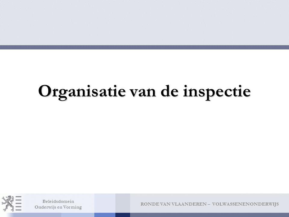 RONDE VAN VLAANDEREN – VOLWASSENENONDERWIJS Beleidsdomein Onderwijs en Vorming Organisatie van de inspectie
