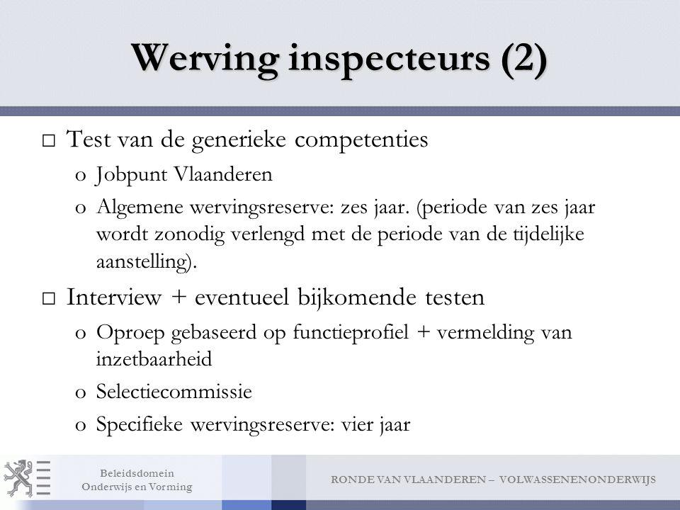 RONDE VAN VLAANDEREN – VOLWASSENENONDERWIJS Beleidsdomein Onderwijs en Vorming Werving inspecteurs (2) □Test van de generieke competenties oJobpunt Vl