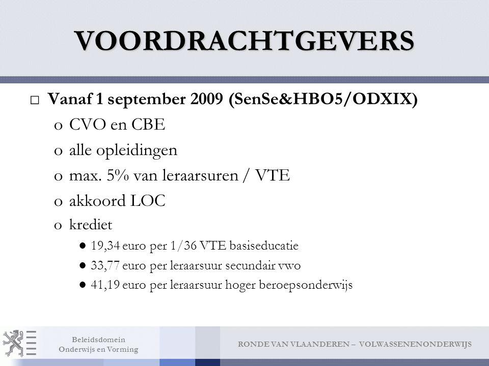RONDE VAN VLAANDEREN – VOLWASSENENONDERWIJS Beleidsdomein Onderwijs en Vorming VOORDRACHTGEVERS □Vanaf 1 september 2009 (SenSe&HBO5/ODXIX) oCVO en CBE oalle opleidingen omax.