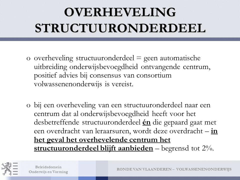 RONDE VAN VLAANDEREN – VOLWASSENENONDERWIJS Beleidsdomein Onderwijs en Vorming OVERHEVELING STRUCTUURONDERDEEL ooverheveling structuuronderdeel = geen