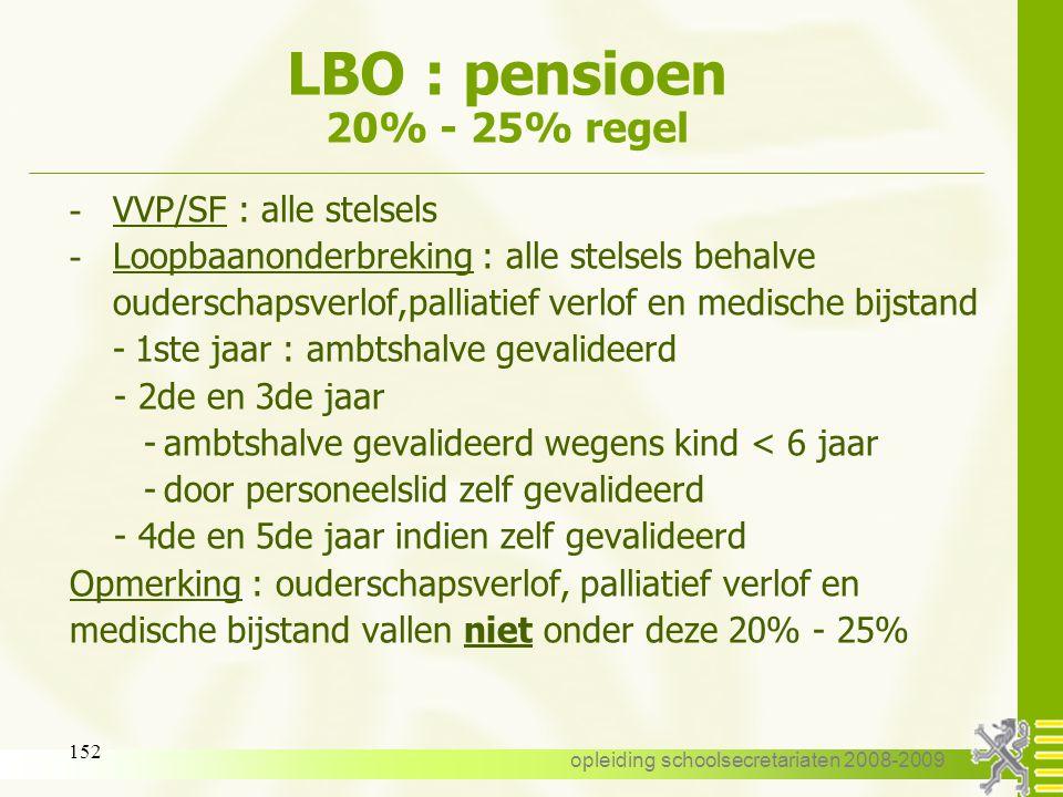 opleiding schoolsecretariaten 2008-2009 151 LBO : pensioen 14 : pensioen Validering : pensioenbijdragen betalen - 7,5 % van het salaris van de niet-ge