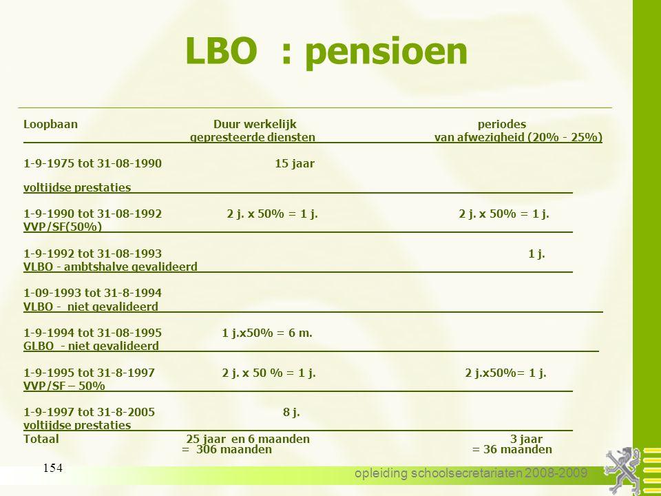 opleiding schoolsecretariaten 2008-2009 153 LBO : pensioen 20% - 25% regel - borstvoedingsverlof - bepaalde verloven voor het gemeenschapsonderwijs -