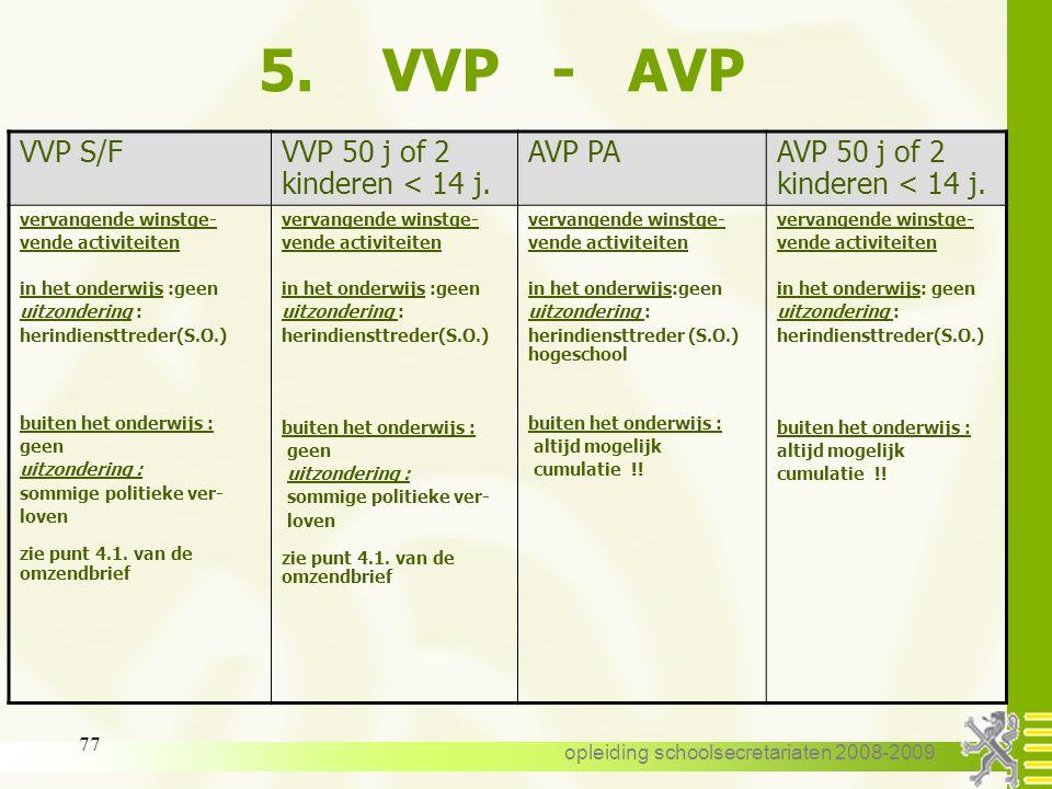 opleiding schoolsecretariaten 2008-2009 76 5. VVP - AVP VVP S/FVVP 50 j of 2 kinderen < 14 j AVP PAAVP 50 j of 2 kinderen <14 j. Vastbenoemd Tijdelijk