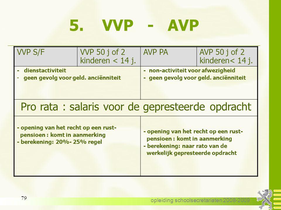 opleiding schoolsecretariaten 2008-2009 78 5. VVP - AVP VVP S/FVVP 50 j of 2 kinderen< 14 j. AVP PAAVP 50 j of 2 kinderen< 14 j. aanvang : bij noodzaa