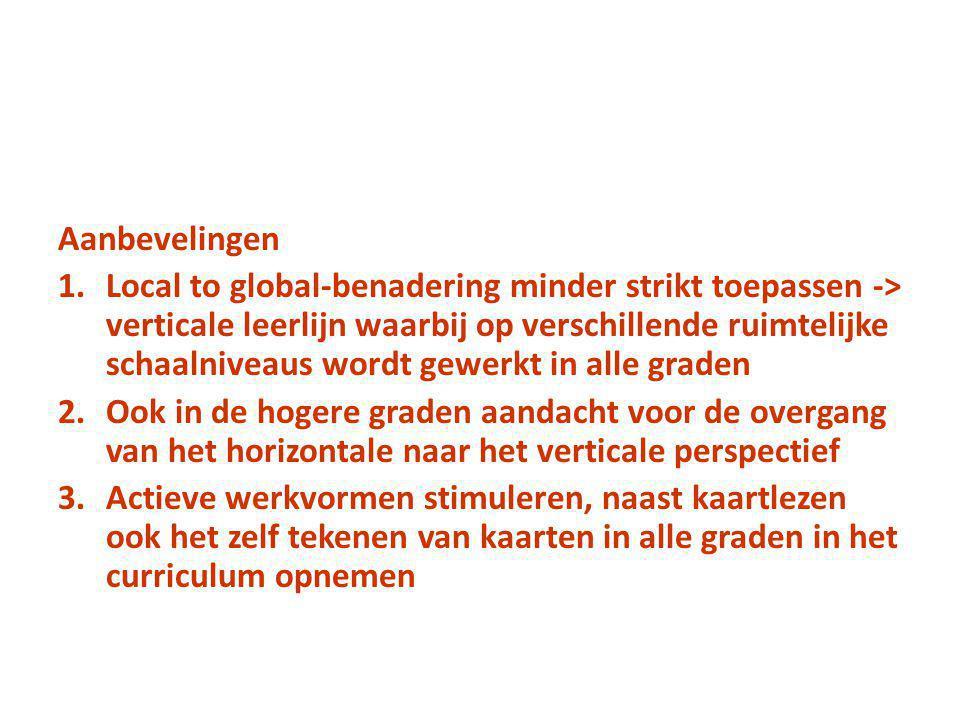 Aanbevelingen 1.Local to global-benadering minder strikt toepassen -> verticale leerlijn waarbij op verschillende ruimtelijke schaalniveaus wordt gewe