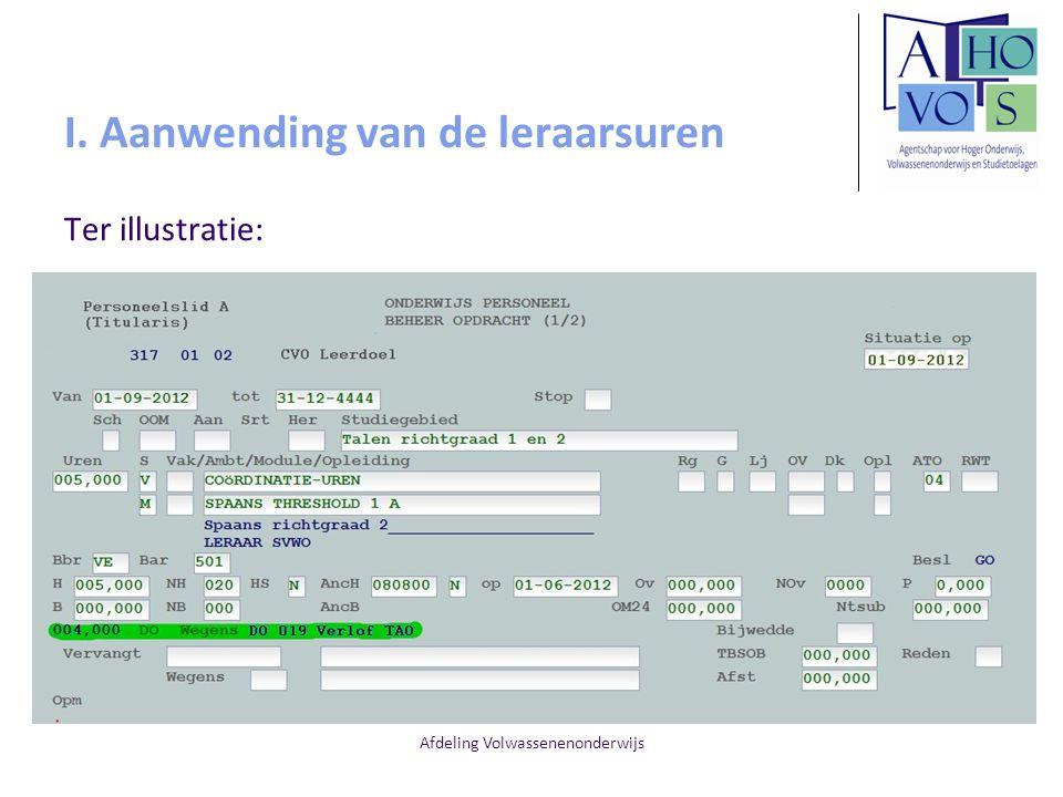 Afdeling Volwassenenonderwijs I. Aanwending van de leraarsuren Ter illustratie: