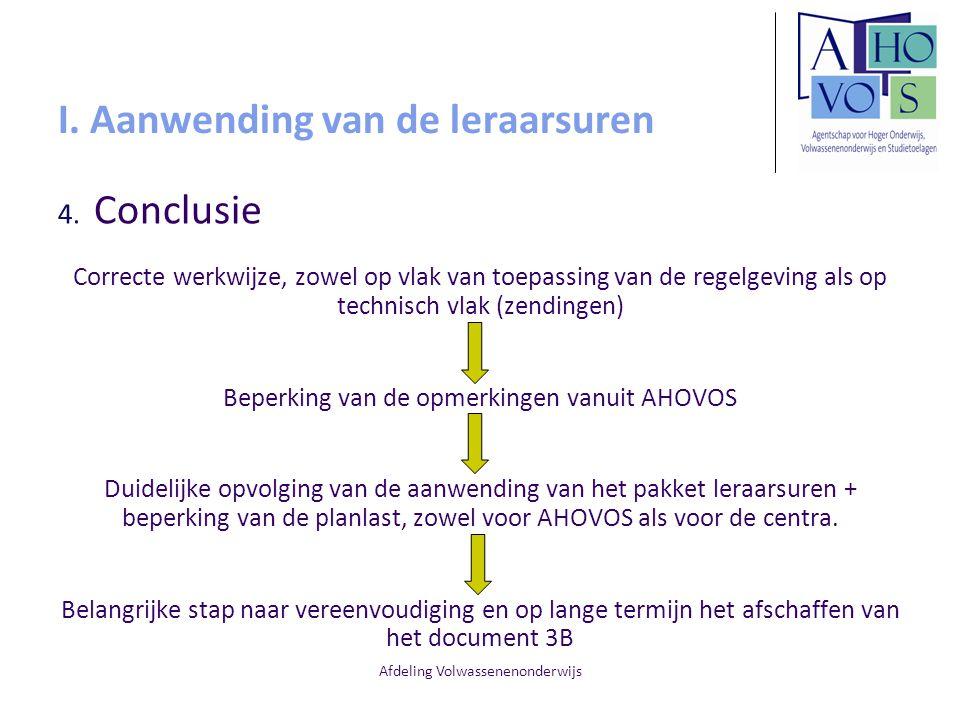 Afdeling Volwassenenonderwijs I. Aanwending van de leraarsuren 4. Conclusie Correcte werkwijze, zowel op vlak van toepassing van de regelgeving als op
