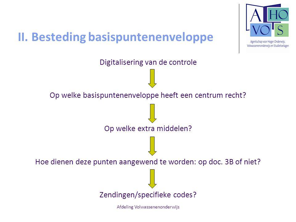 Afdeling Volwassenenonderwijs II. Besteding basispuntenenveloppe Digitalisering van de controle Op welke basispuntenenveloppe heeft een centrum recht?