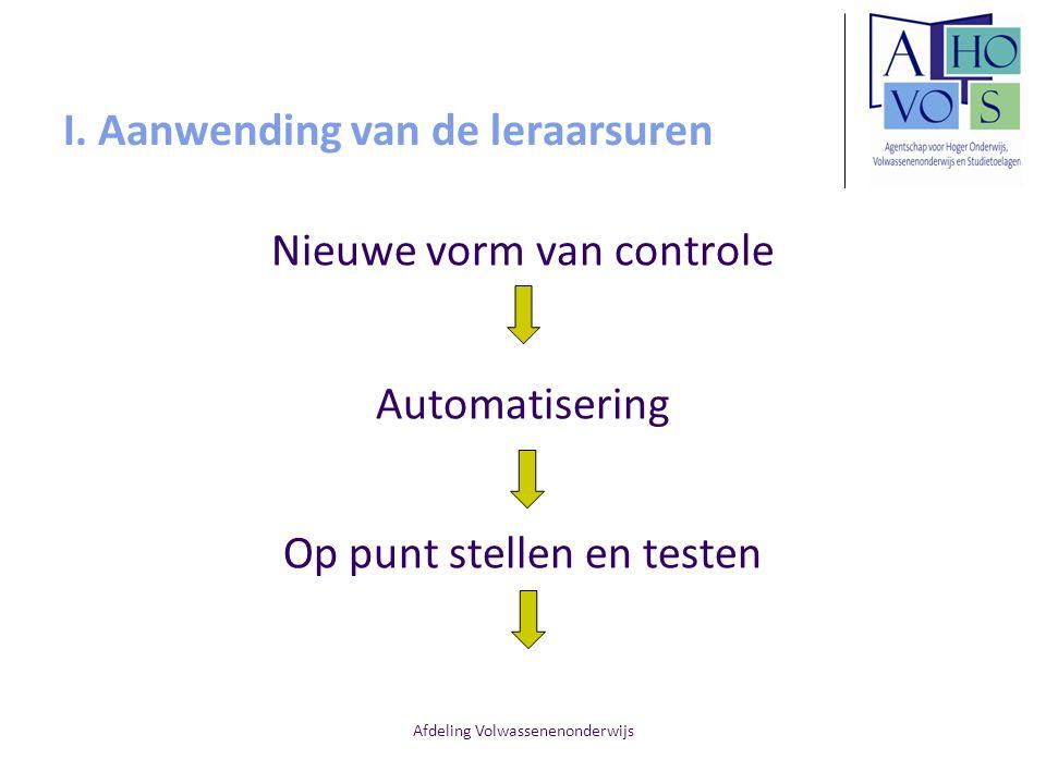 Afdeling Volwassenenonderwijs I. Aanwending van de leraarsuren Nieuwe vorm van controle Automatisering Op punt stellen en testen