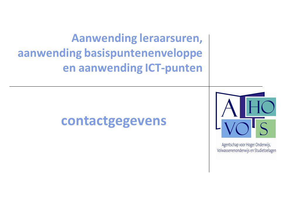 Aanwending leraarsuren, aanwending basispuntenenveloppe en aanwending ICT-punten contactgegevens