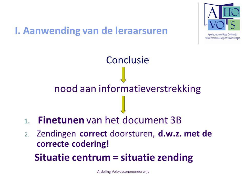 Afdeling Volwassenenonderwijs I. Aanwending van de leraarsuren Conclusie nood aan informatieverstrekking 1. Finetunen van het document 3B 2. Zendingen