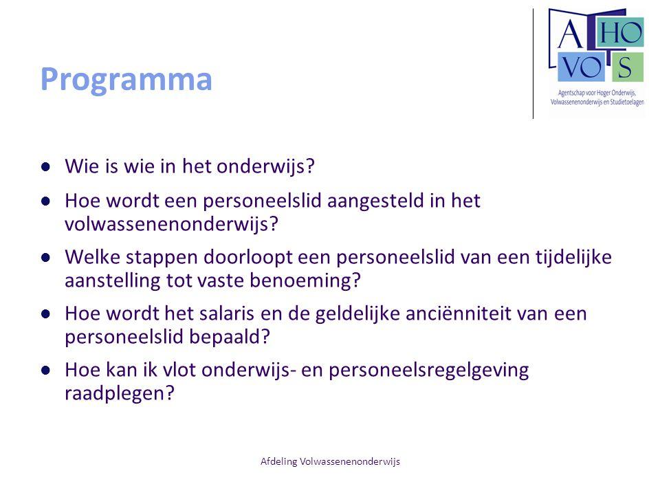 Afdeling Volwassenenonderwijs Programma Wie is wie in het onderwijs? Hoe wordt een personeelslid aangesteld in het volwassenenonderwijs? Welke stappen