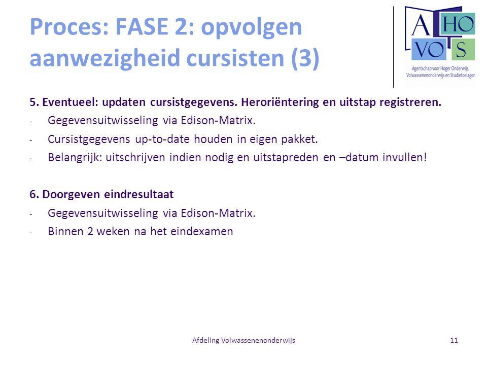 Afdeling Volwassenenonderwijs11 Proces: FASE 2: opvolgen aanwezigheid cursisten (3) 5. Eventueel: updaten cursistgegevens. Heroriëntering en uitstap r